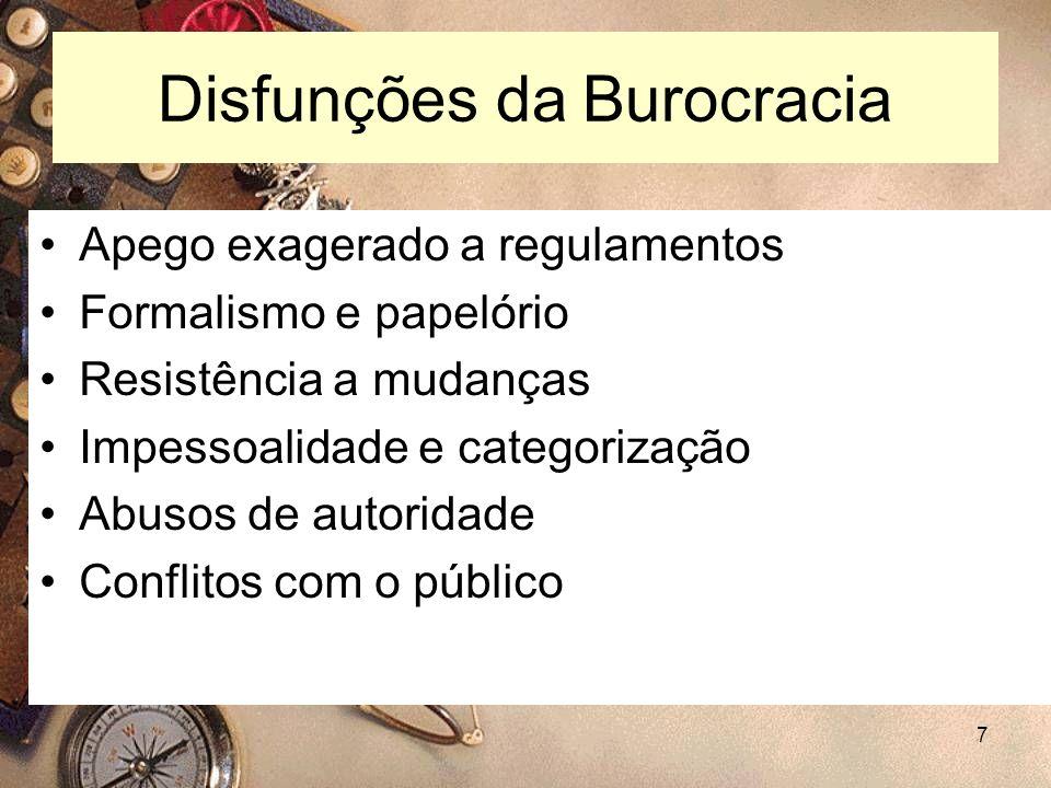 7 Disfunções da Burocracia Apego exagerado a regulamentos Formalismo e papelório Resistência a mudanças Impessoalidade e categorização Abusos de autor