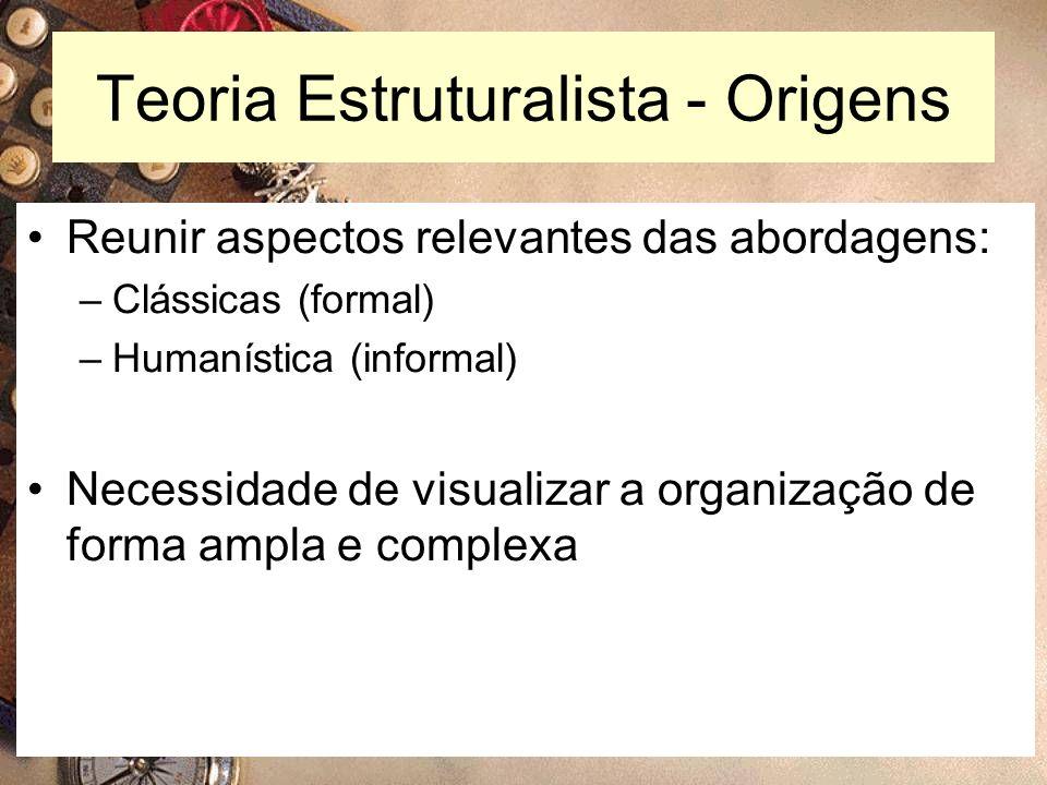 9 Teoria Estruturalista - Origens Reunir aspectos relevantes das abordagens: –Clássicas (formal) –Humanística (informal) Necessidade de visualizar a o