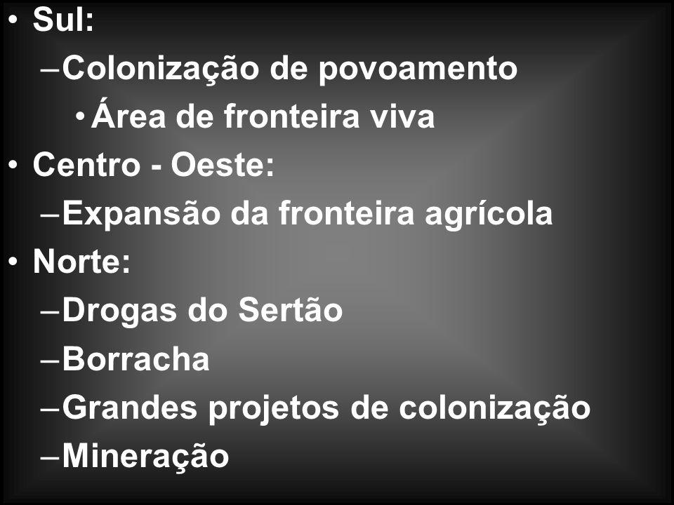 Pau - Brasil: –entrepostos comerciais ( feitorias ) Cana - de - Açúcar: –Nordeste ( Zona da Mata ) Sertão ( Fazendas de gado ) Ouro: –Minas Gerais art