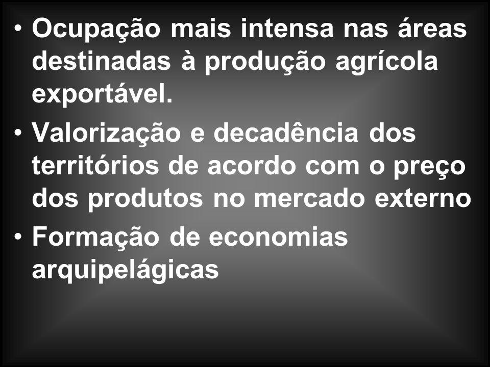 Ocupação mais intensa nas áreas destinadas à produção agrícola exportável.