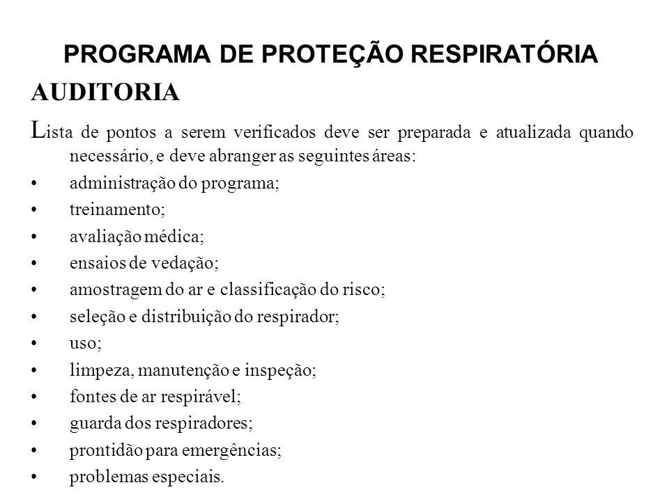 PROGRAMA DE PROTEÇÃO RESPIRATÓRIA AUDITORIA L ista de pontos a serem verificados deve ser preparada e atualizada quando necessário, e deve abranger as
