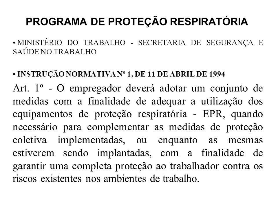 PROGRAMA DE PROTEÇÃO RESPIRATÓRIA MINISTÉRIO DO TRABALHO - SECRETARIA DE SEGURANÇA E SAÚDE NO TRABALHO INSTRUÇÃO NORMATIVA Nº 1, DE 11 DE ABRIL DE 199