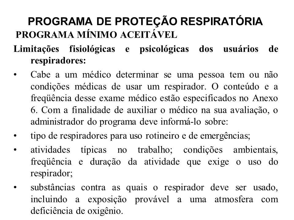 PROGRAMA DE PROTEÇÃO RESPIRATÓRIA PROGRAMA MÍNIMO ACEITÁVEL Limitações fisiológicas e psicológicas dos usuários de respiradores: Cabe a um médico dete