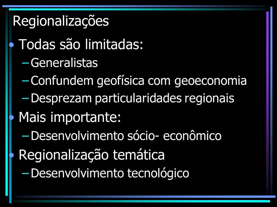 Regionalizações Todas são limitadas: –Generalistas –Confundem geofísica com geoeconomia –Desprezam particularidades regionais Mais importante: –Desenv