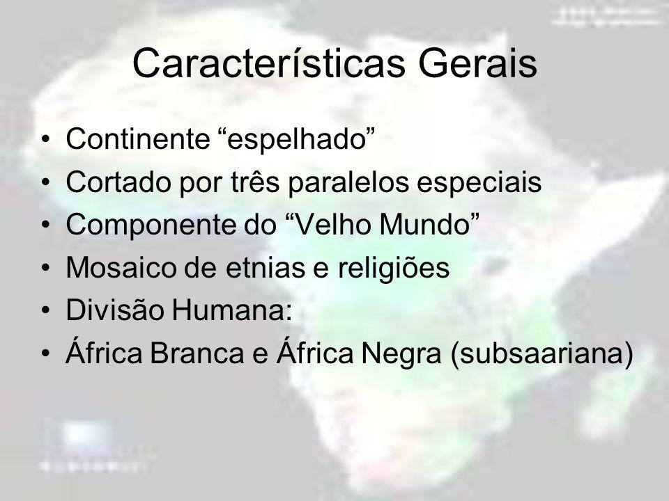 Características Gerais Continente espelhado Cortado por três paralelos especiais Componente do Velho Mundo Mosaico de etnias e religiões Divisão Human