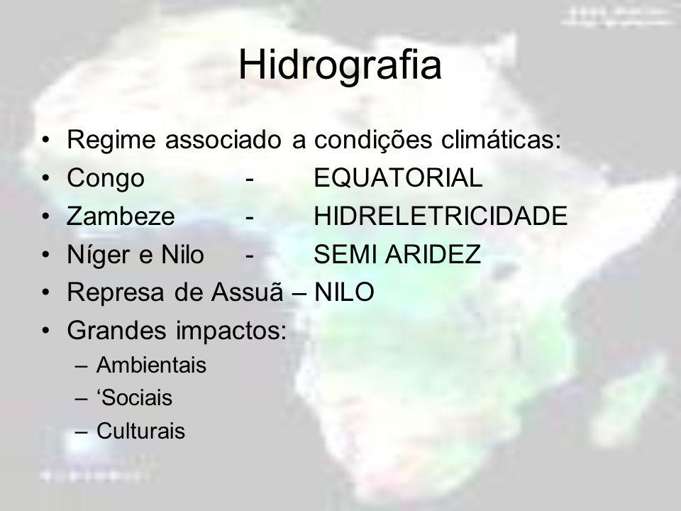 Hidrografia Regime associado a condições climáticas: Congo-EQUATORIAL Zambeze-HIDRELETRICIDADE Níger e Nilo-SEMI ARIDEZ Represa de Assuã – NILO Grande