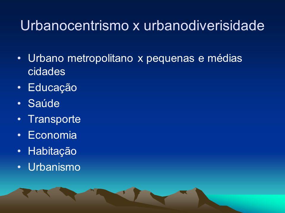 Urbanocentrismo x urbanodiverisidade Urbano metropolitano x pequenas e médias cidades Educação Saúde Transporte Economia Habitação Urbanismo