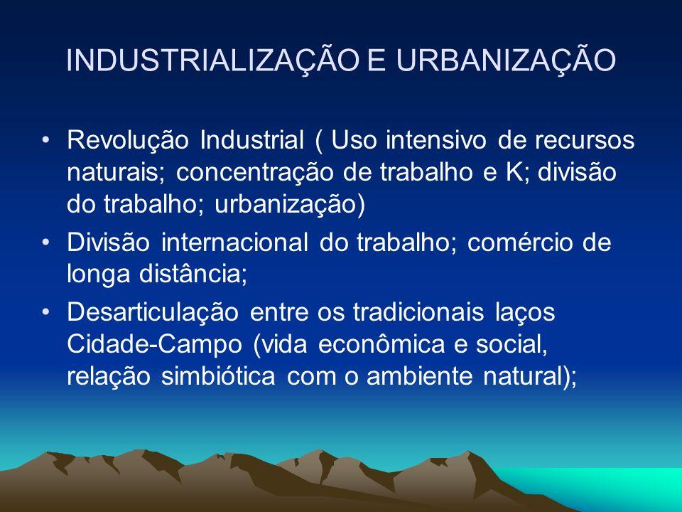 INDUSTRIALIZAÇÃO E URBANIZAÇÃO Revolução Industrial ( Uso intensivo de recursos naturais; concentração de trabalho e K; divisão do trabalho; urbanizaç
