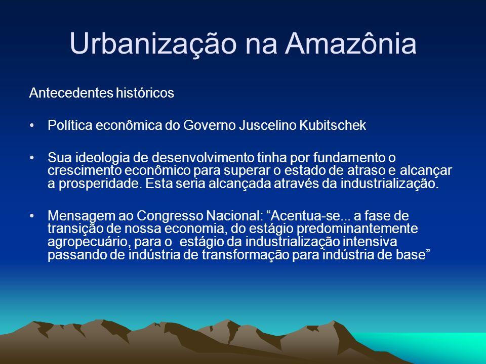 Urbanização na Amazônia Antecedentes históricos Política econômica do Governo Juscelino Kubitschek Sua ideologia de desenvolvimento tinha por fundamen