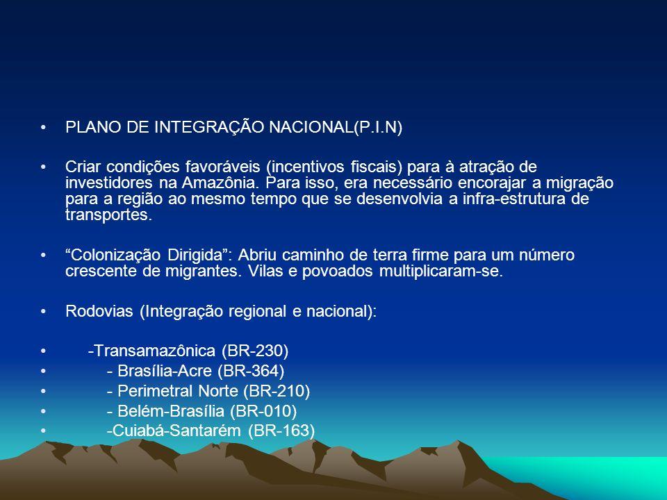 PLANO DE INTEGRAÇÃO NACIONAL(P.I.N) Criar condições favoráveis (incentivos fiscais) para à atração de investidores na Amazônia. Para isso, era necessá