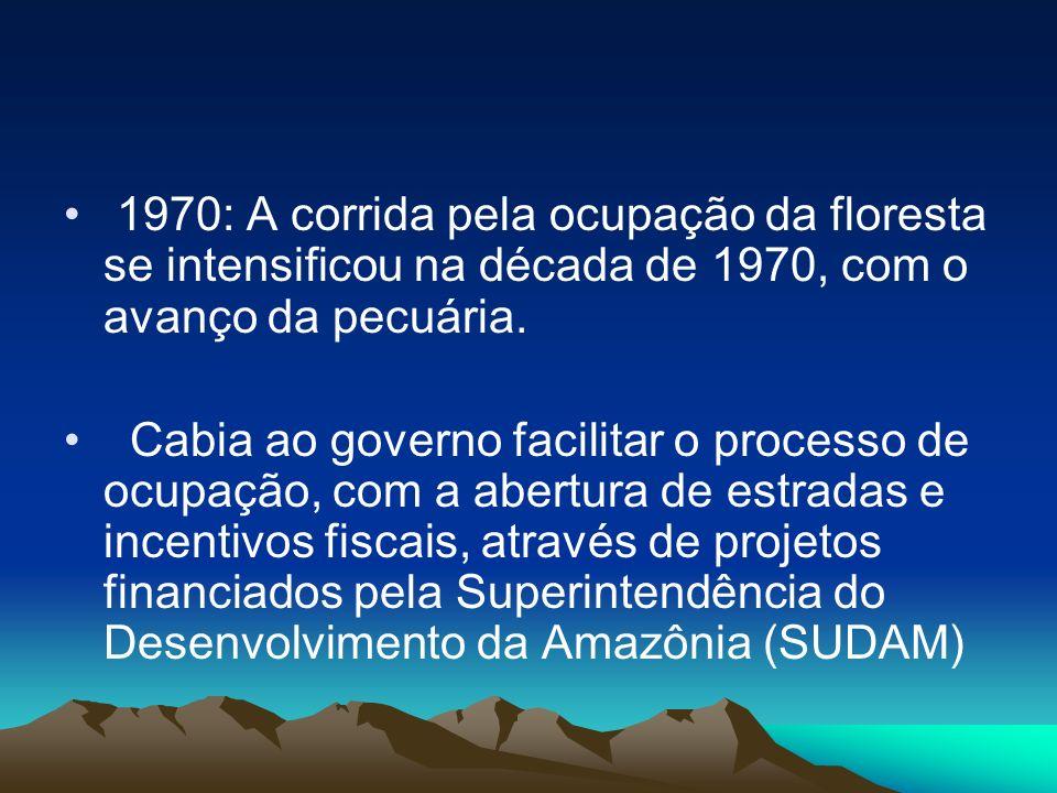 1970: A corrida pela ocupação da floresta se intensificou na década de 1970, com o avanço da pecuária. Cabia ao governo facilitar o processo de ocupaç