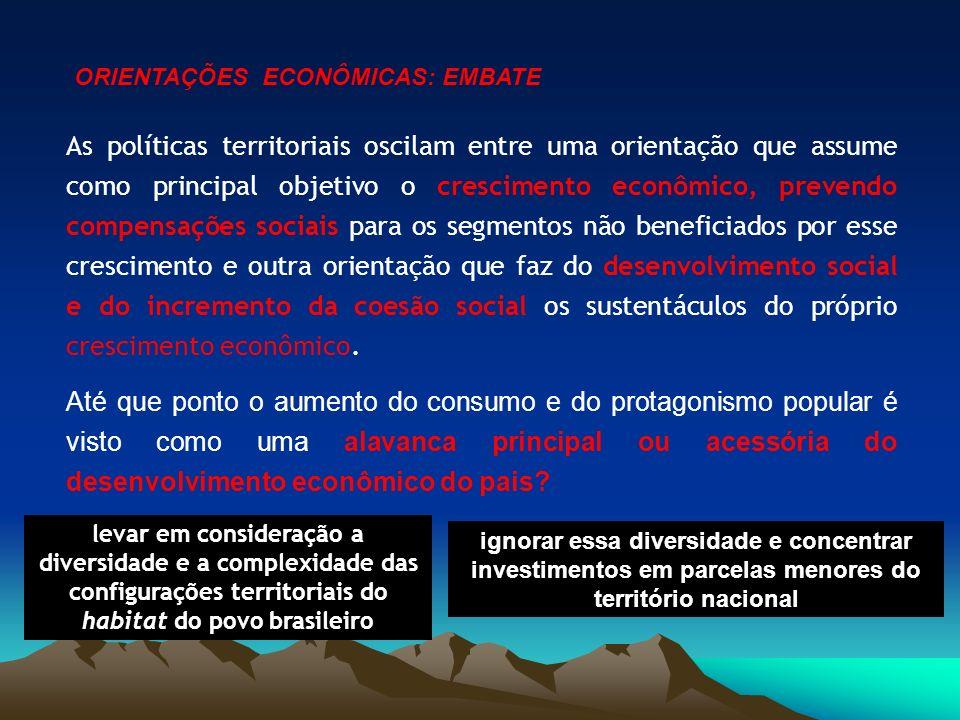 As políticas territoriais oscilam entre uma orientação que assume como principal objetivo o crescimento econômico, prevendo compensações sociais para