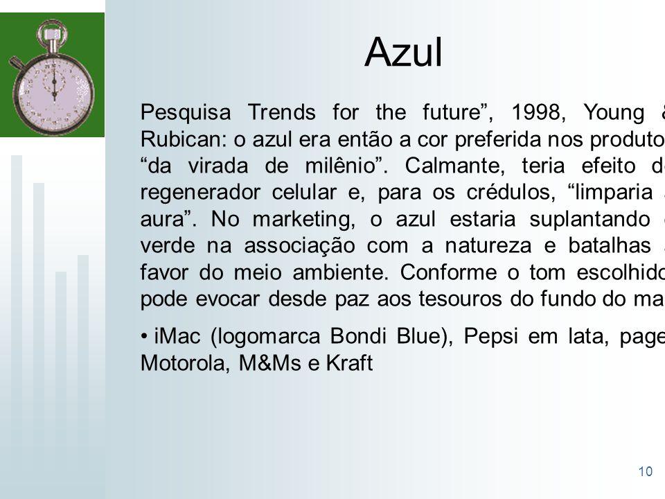 10 Azul Pesquisa Trends for the future, 1998, Young & Rubican: o azul era então a cor preferida nos produtos da virada de milênio. Calmante, teria efe