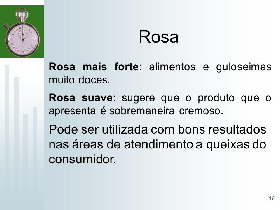 16 Rosa Rosa mais forte: alimentos e guloseimas muito doces. Rosa suave: sugere que o produto que o apresenta é sobremaneira cremoso. Pode ser utiliza