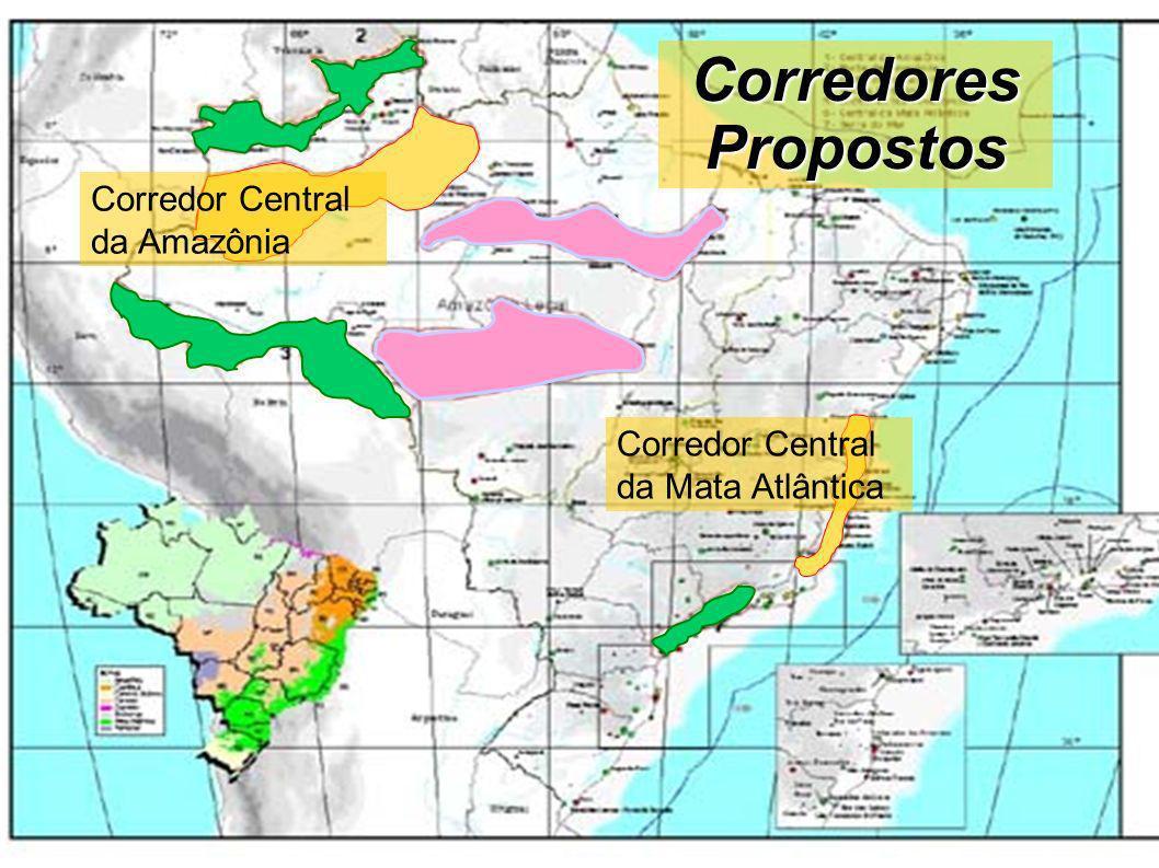Corredor Central da Amazônia - CCA Ocupa uma área aproximada de 400.000 km², sendo que as áreas de proteção correspondem a mais de 70% deste corredor).