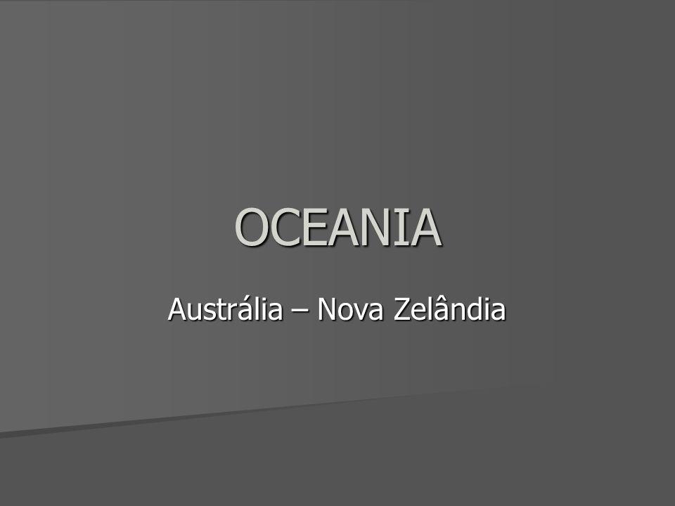 Austrália – Economia Diversificada e moderna Diversificada e moderna APEC – Bacia do Pacífico APEC – Bacia do Pacífico Agricultura mecanizada e produtiva Agricultura mecanizada e produtiva –Produção irrigada –cereais no sul –tropicais ao norte Forte pecuária ovina Forte pecuária ovina –160 milhões de cabeças –1° produtor de lã Rico em recursos minerais Rico em recursos minerais –Ferro, bauxita, carvão mineral, zinco, ouro, etc Industrialização completa, concentrada no sudeste do país Industrialização completa, concentrada no sudeste do país –Setor mais importante: siderurgia/metalurgia, automóveis