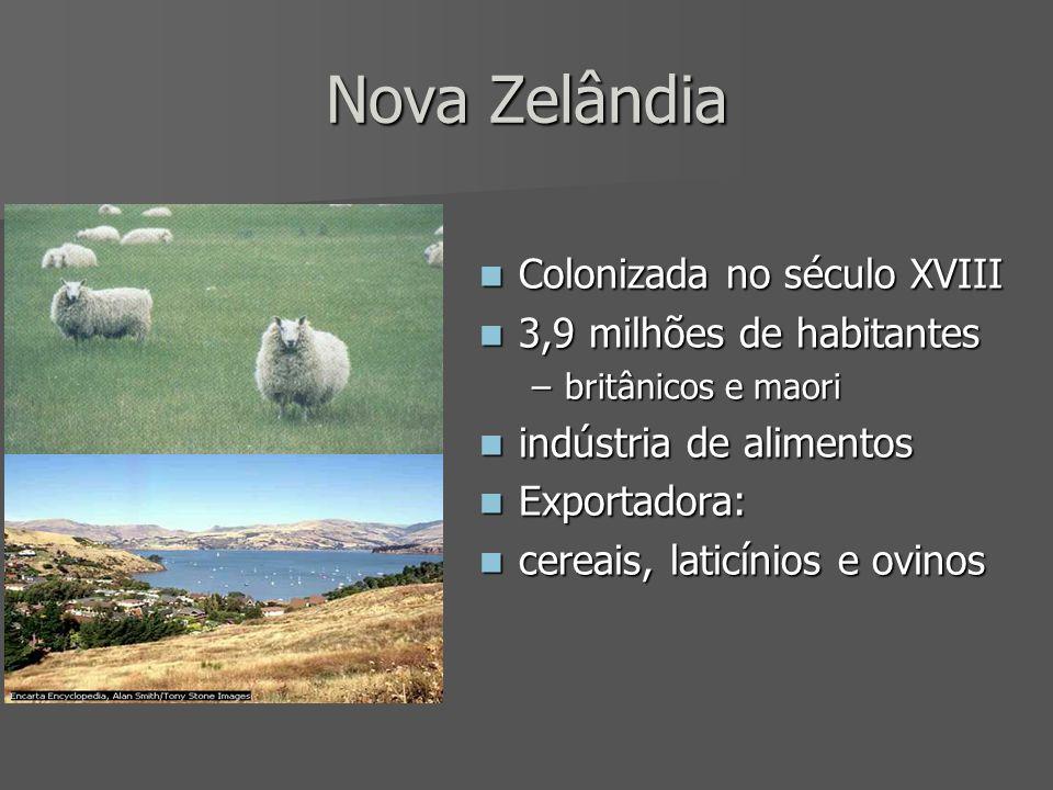 Nova Zelândia Colonizada no século XVIII Colonizada no século XVIII 3,9 milhões de habitantes 3,9 milhões de habitantes –britânicos e maori indústria