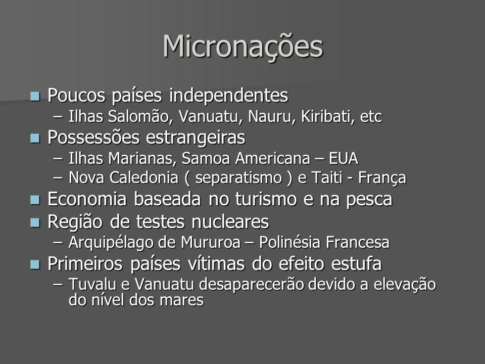 Micronações Poucos países independentes Poucos países independentes –Ilhas Salomão, Vanuatu, Nauru, Kiribati, etc Possessões estrangeiras Possessões e