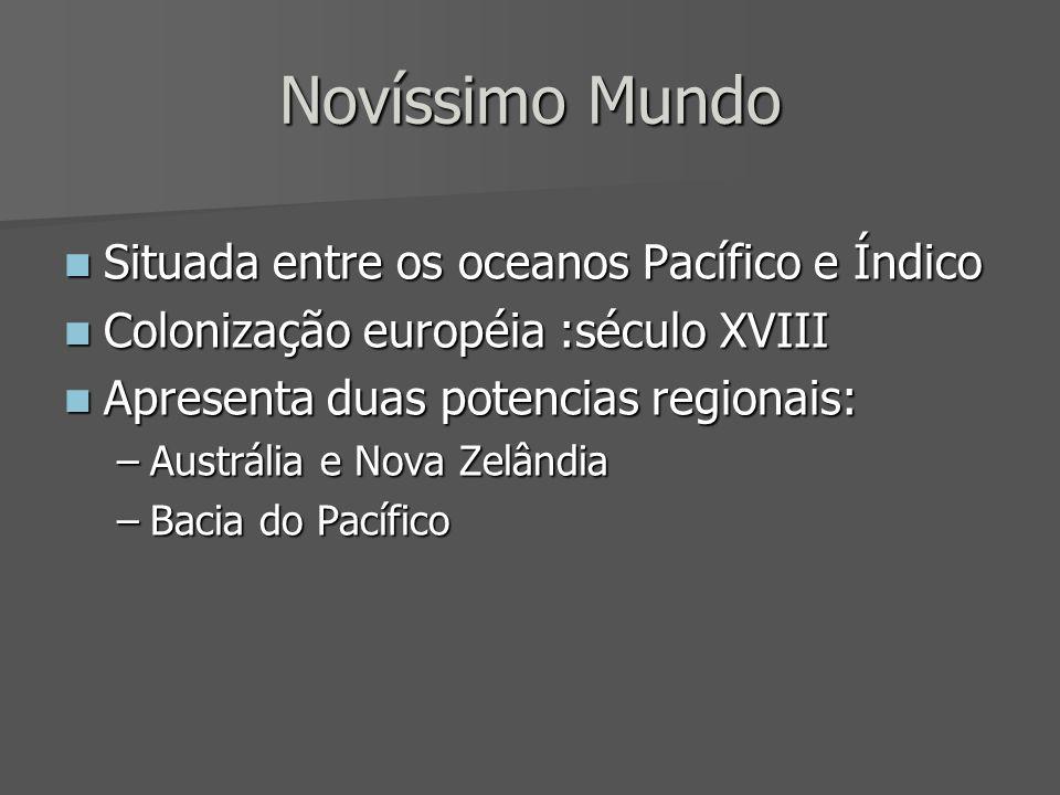 Novíssimo Mundo Situada entre os oceanos Pacífico e Índico Situada entre os oceanos Pacífico e Índico Colonização européia :século XVIII Colonização e