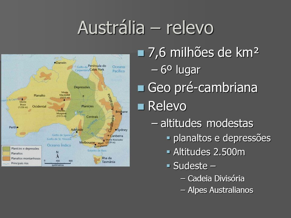 Austrália – relevo 7,6 milhões de km² 7,6 milhões de km² –6º lugar Geo pré-cambriana Geo pré-cambriana Relevo Relevo –altitudes modestas planaltos e d
