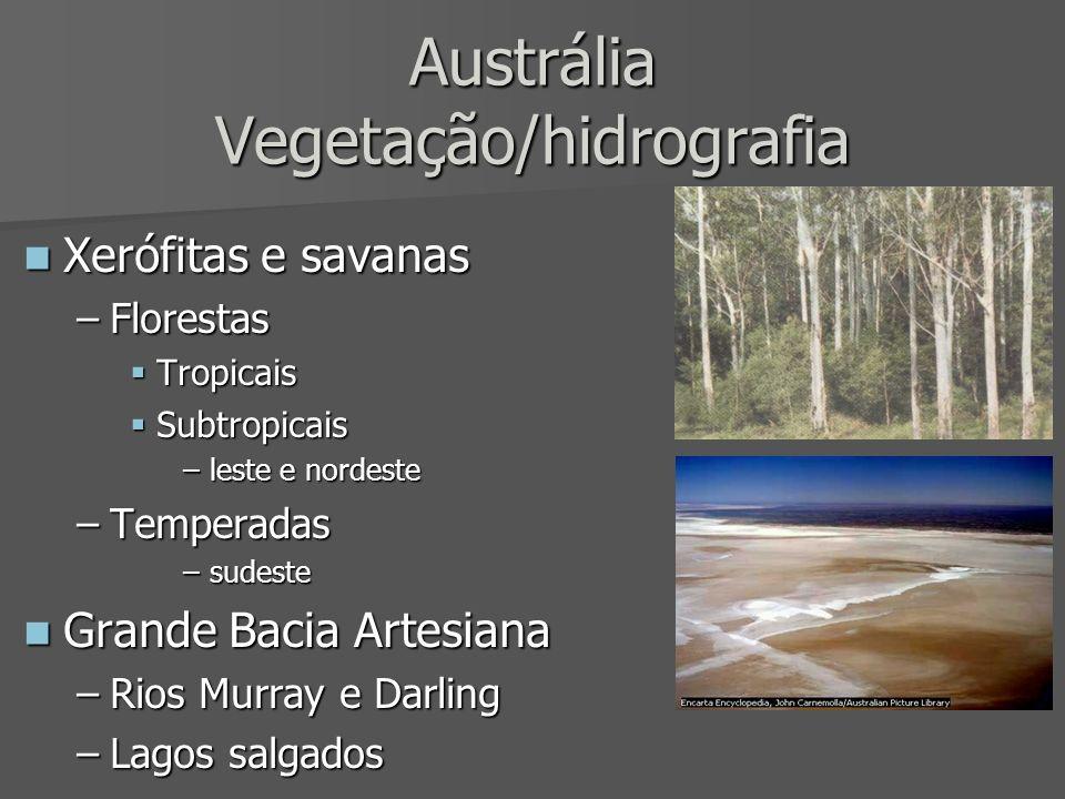 Austrália Vegetação/hidrografia Xerófitas e savanas Xerófitas e savanas –Florestas Tropicais Tropicais Subtropicais Subtropicais –leste e nordeste –Te