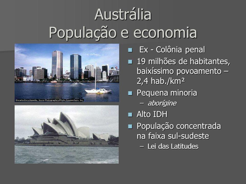 Austrália População e economia Ex - Colônia penal Ex - Colônia penal 19 milhões de habitantes, baixíssimo povoamento – 2,4 hab./km² 19 milhões de habi