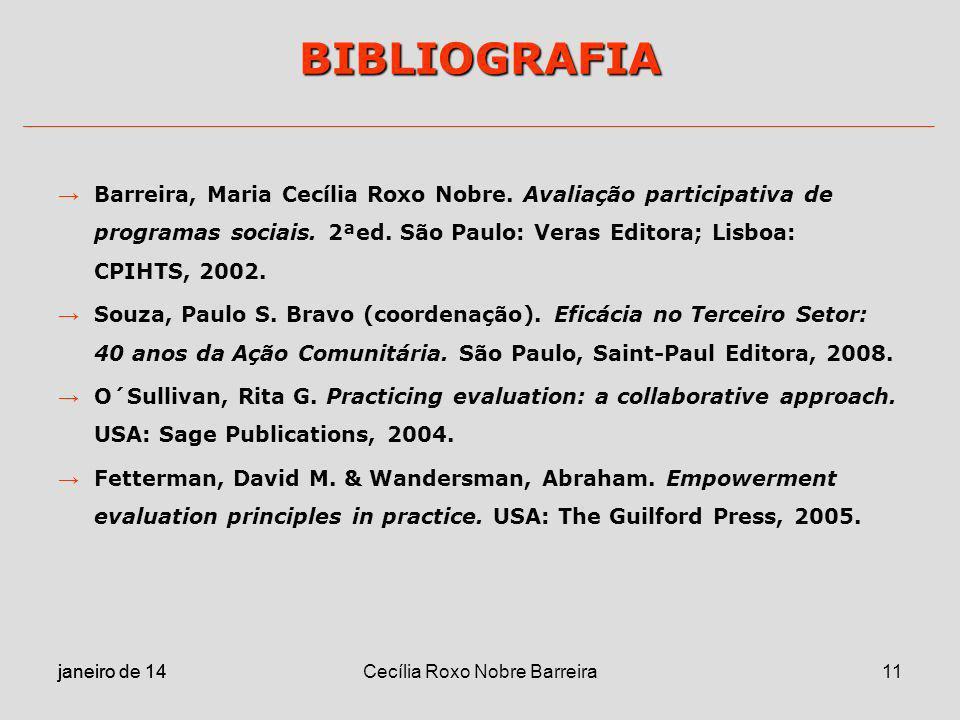 janeiro de 14 Cecília Roxo Nobre Barreira11 BIBLIOGRAFIA Barreira, Maria Cecília Roxo Nobre. Avaliação participativa de programas sociais. 2ªed. São P