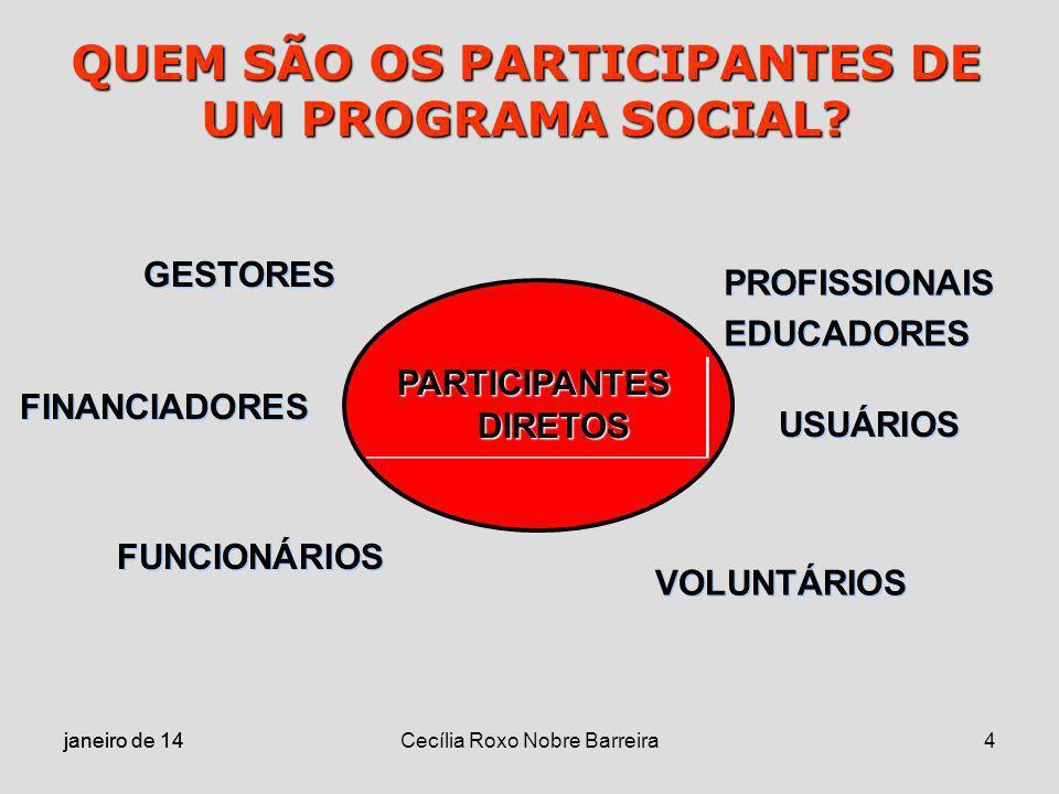 janeiro de 14 Cecília Roxo Nobre Barreira4 QUEM SÃO OS PARTICIPANTES DE UM PROGRAMA SOCIAL? PARTICIPANTES DIRETOS GESTORES FINANCIADORES FUNCIONÁRIOS
