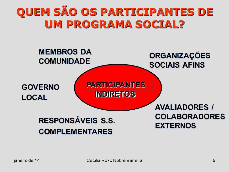 janeiro de 14 Cecília Roxo Nobre Barreira5 QUEM SÃO OS PARTICIPANTES DE UM PROGRAMA SOCIAL? PARTICIPANTES INDIRETOS MEMBROS DA COMUNIDADE MEMBROS DA C