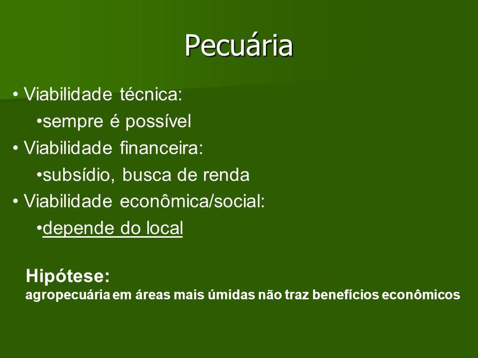 Pecuária Hipótese: agropecuária em áreas mais úmidas não traz benefícios econômicos Viabilidade técnica: sempre é possível Viabilidade financeira: sub