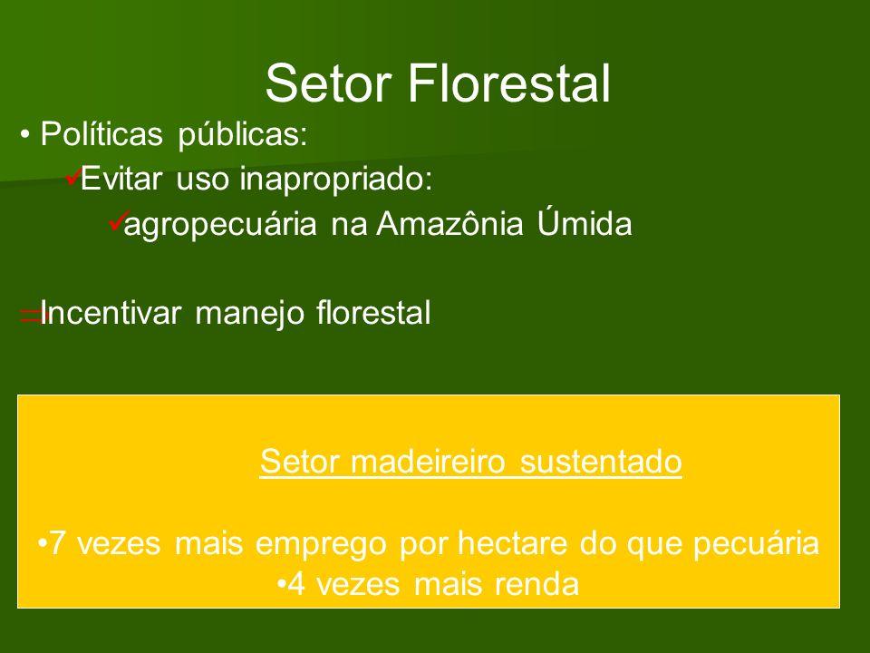 Setor Florestal Políticas públicas: Evitar uso inapropriado: agropecuária na Amazônia Úmida Incentivar manejo florestal Setor madeireiro sustentado 7