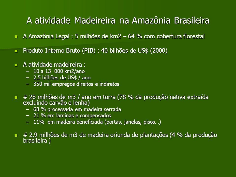 A atividade Madeireira na Amazônia Brasileira A Amazônia Legal : 5 milhões de km2 – 64 % com cobertura florestal A Amazônia Legal : 5 milhões de km2 –