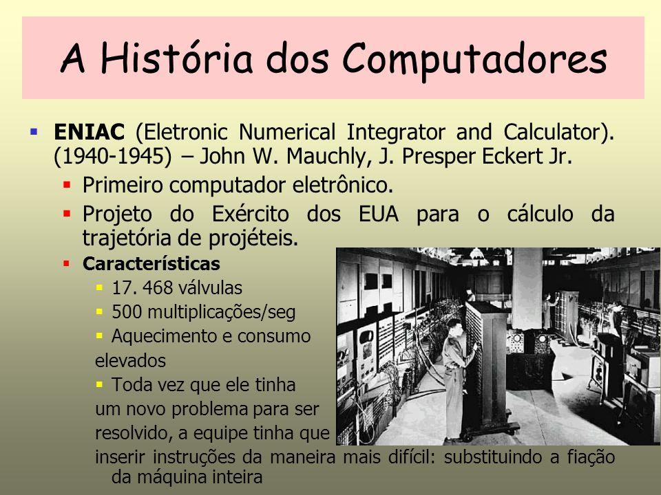 ENIAC (Eletronic Numerical Integrator and Calculator). (1940-1945) – John W. Mauchly, J. Presper Eckert Jr. Primeiro computador eletrônico. Projeto do