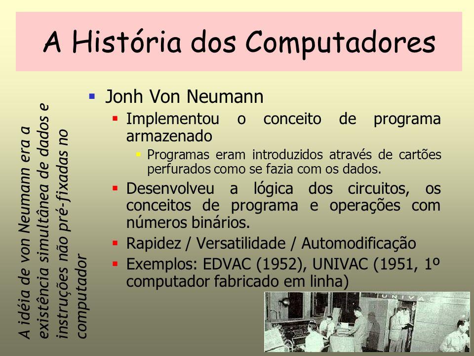 Jonh Von Neumann Implementou o conceito de programa armazenado Programas eram introduzidos através de cartões perfurados como se fazia com os dados.