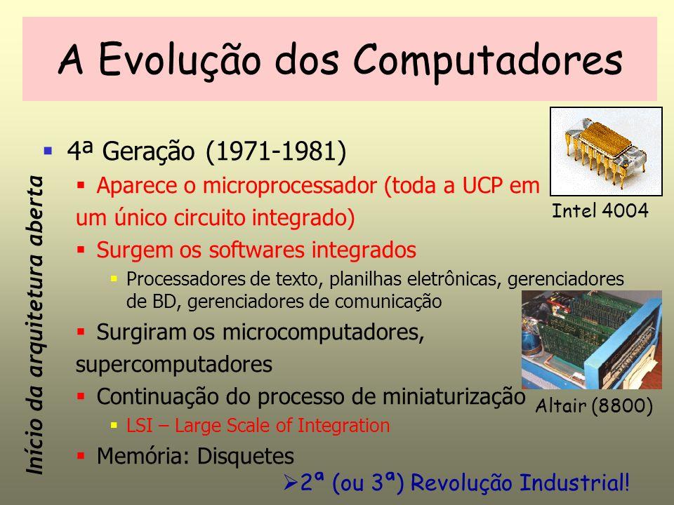 4ª Geração (1971-1981) Aparece o microprocessador (toda a UCP em um único circuito integrado) Surgem os softwares integrados Processadores de texto, planilhas eletrônicas, gerenciadores de BD, gerenciadores de comunicação Surgiram os microcomputadores, supercomputadores Continuação do processo de miniaturização LSI – Large Scale of Integration Memória: Disquetes A Evolução dos Computadores Intel 4004 Início da arquitetura aberta Altair (8800) 2ª (ou 3ª) Revolução Industrial!