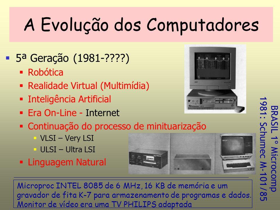 5ª Geração (1981-????) Robótica Realidade Virtual (Multimídia) Inteligência Artificial Era On-Line - Internet Continuação do processo de minituarização VLSI – Very LSI ULSI – Ultra LSI Linguagem Natural A Evolução dos Computadores Microproc INTEL 8085 de 6 MHz, 16 KB de memória e um gravador de fita K-7 para armazenamento de programas e dados.