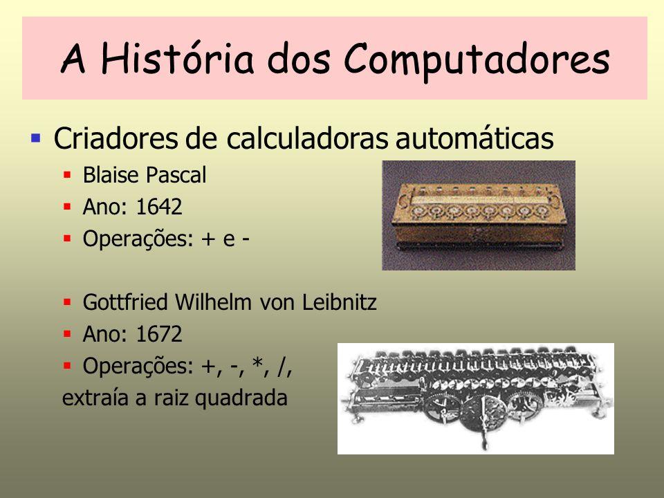 A História dos Computadores Criadores de calculadoras automáticas Blaise Pascal Ano: 1642 Operações: + e - Gottfried Wilhelm von Leibnitz Ano: 1672 Op