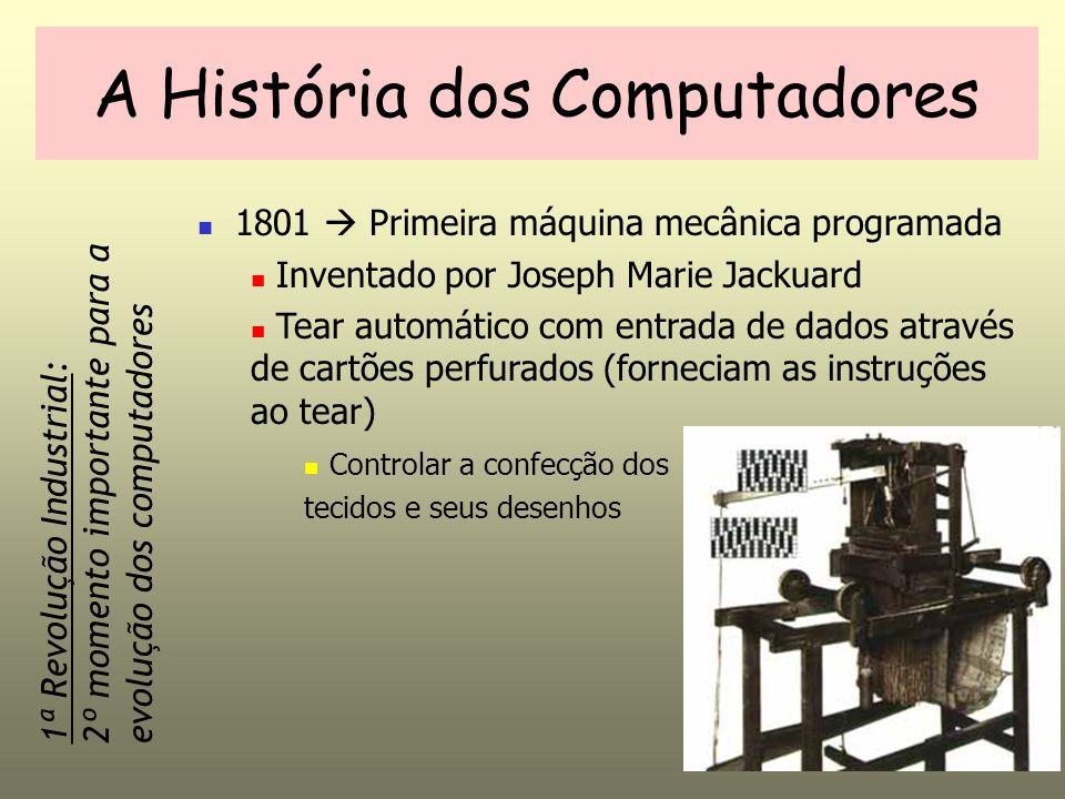 A História dos Computadores 1833 Máquina Analítica (calculador) Charles Babbage Necessidade de realizar cálculos mais complexos Semelhante ao computador atual Considerado o pai da informática Entrada (cartões) MemóriaCalculadora Unidade de Controle Saída Máquina com Memória Interna: 3º momento importante para a evolução dos computadores