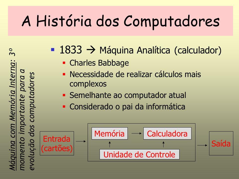A História dos Computadores 1833 Máquina Analítica (calculador) Charles Babbage Necessidade de realizar cálculos mais complexos Semelhante ao computad