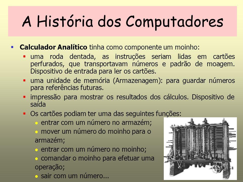 Calculador Analítico tinha como componente um moinho: uma roda dentada, as instruções seriam lidas em cartões perfurados, que transportavam números e