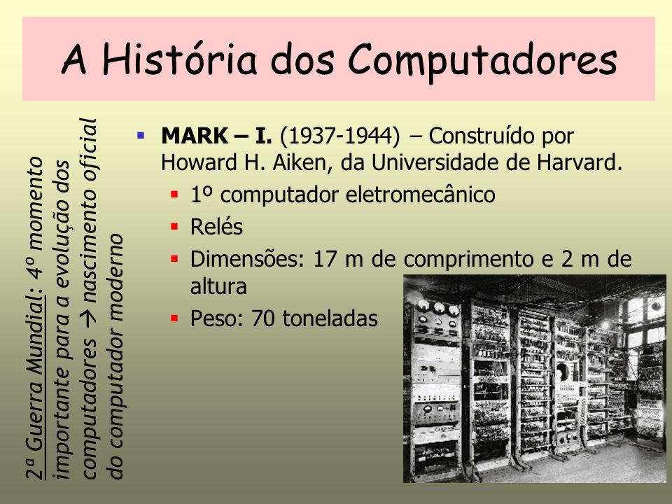 A História dos Computadores MARK – I. (1937-1944) – Construído por Howard H. Aiken, da Universidade de Harvard. 1º computador eletromecânico Relés Dim