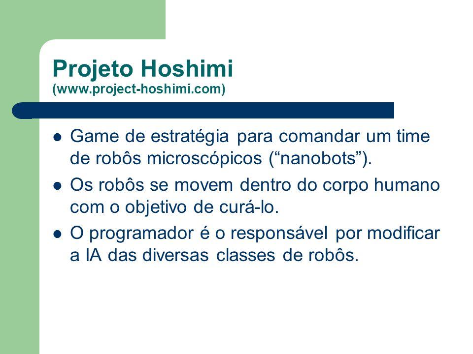 Projeto Hoshimi (www.project-hoshimi.com) Game de estratégia para comandar um time de robôs microscópicos (nanobots).