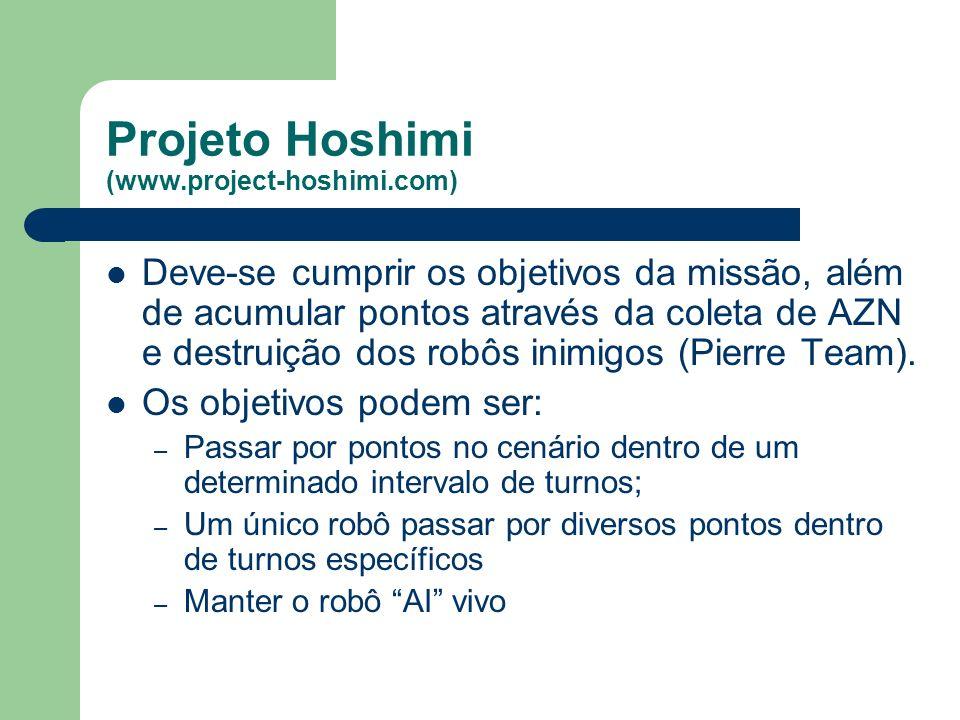 Projeto Hoshimi (www.project-hoshimi.com) Deve-se cumprir os objetivos da missão, além de acumular pontos através da coleta de AZN e destruição dos robôs inimigos (Pierre Team).