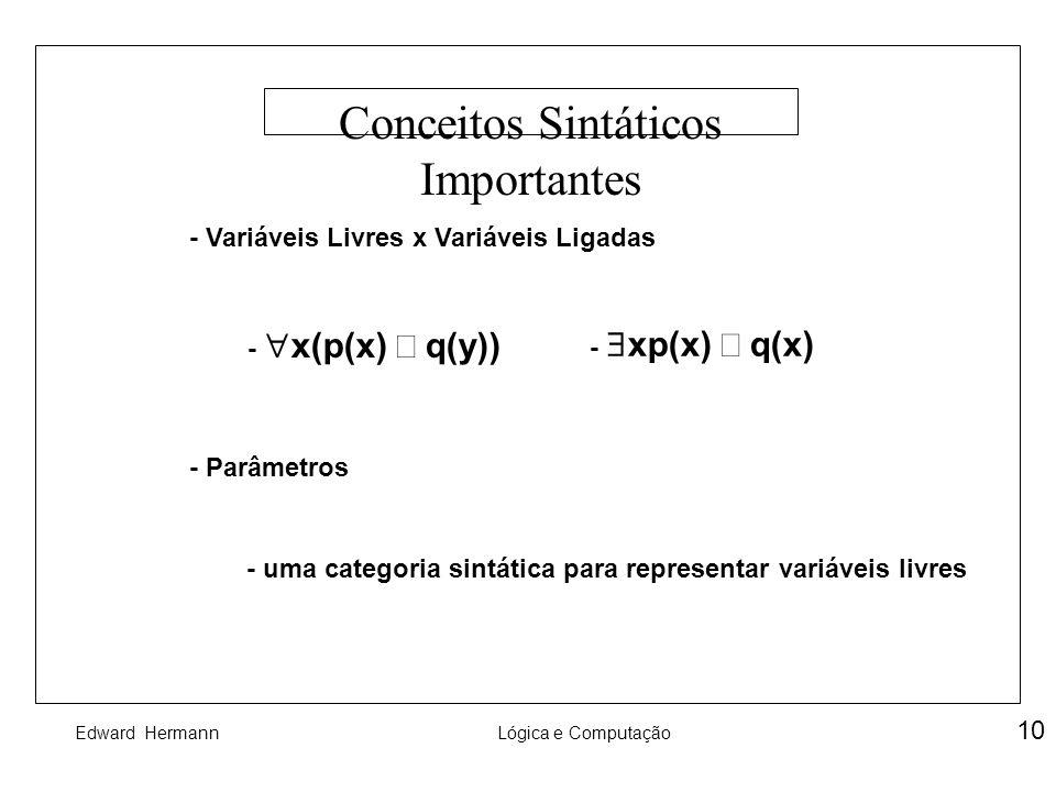 Edward HermannLógica e Computação 10 Conceitos Sintáticos Importantes - Variáveis Livres x Variáveis Ligadas - Parâmetros - uma categoria sintática pa