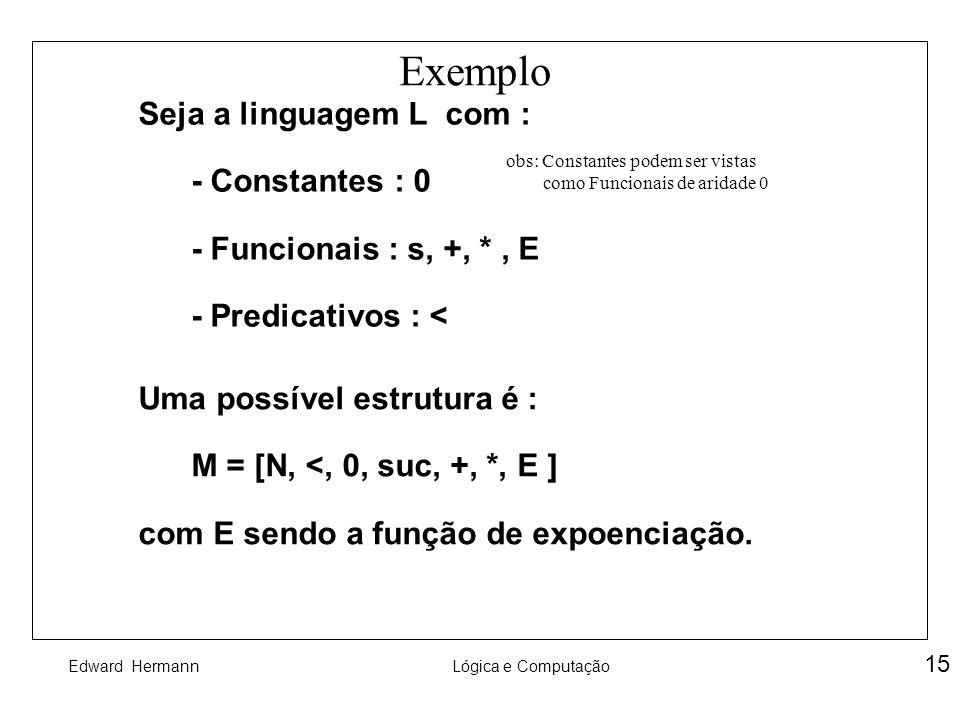 Edward HermannLógica e Computação 15 Exemplo Seja a linguagem L com : - Constantes : 0 - Funcionais : s, +, *, E - Predicativos : < Uma possível estru