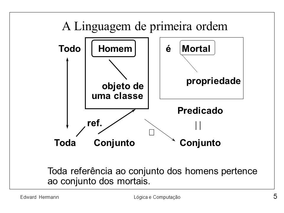 Edward HermannLógica e Computação 5 A Linguagem de primeira ordem é Mortal propriedade Predicado Todo Conjunto Homem objeto de uma classe ConjuntoToda