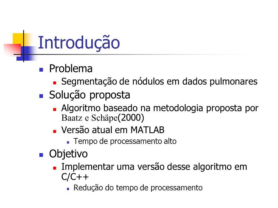 Introdução Problema Segmentação de nódulos em dados pulmonares Solução proposta Algoritmo baseado na metodologia proposta por Baatz e Schäpe (2000) Ve