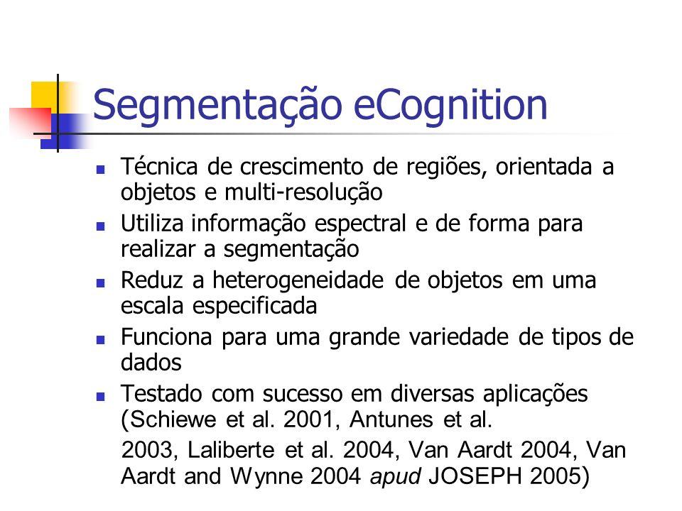 Segmentação eCognition Técnica de crescimento de regiões, orientada a objetos e multi-resolução Utiliza informação espectral e de forma para realizar