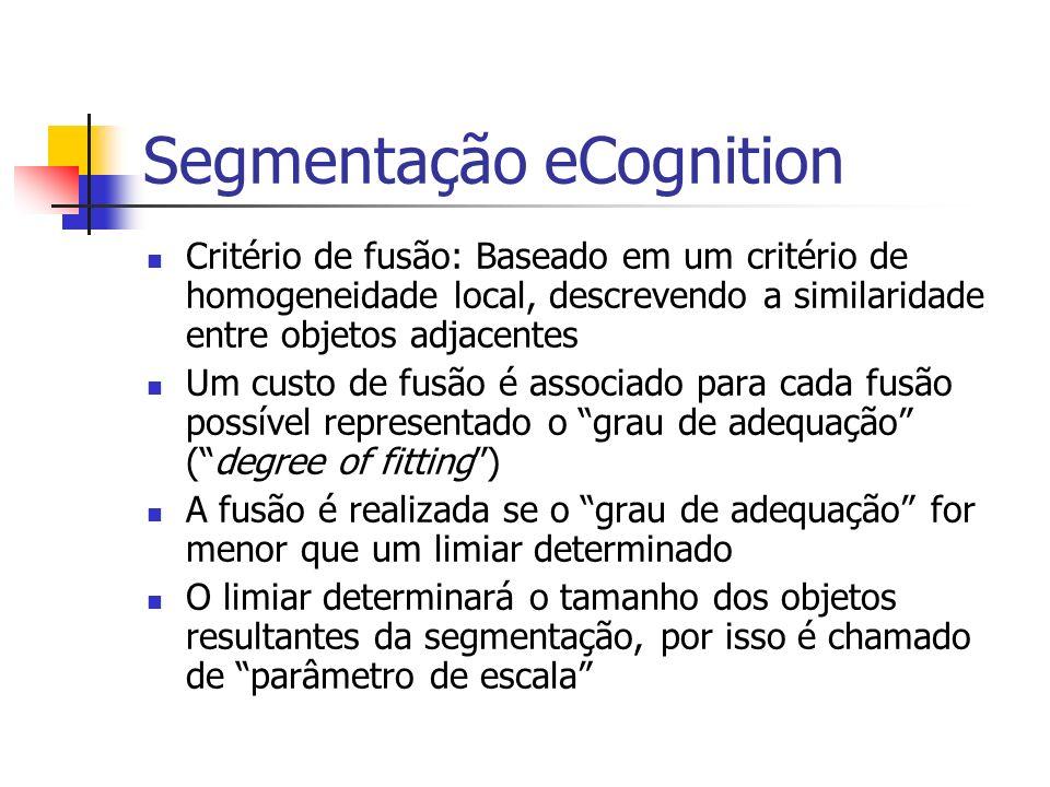 Segmentação eCognition Critério de fusão: Baseado em um critério de homogeneidade local, descrevendo a similaridade entre objetos adjacentes Um custo