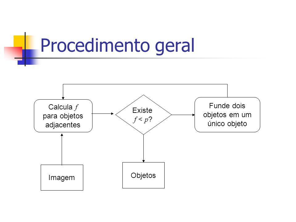 Procedimento geral Funde dois objetos em um único objeto Existe f < p ? Objetos Calcula f para objetos adjacentes Imagem